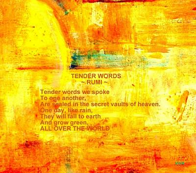 Painting - Tender Words- Greeting Card And Tote by VIVA Anderson