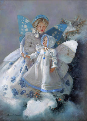 Ski Lodge Decor Painting - Tenderness Snow Fairies by Nancy Lee Moran