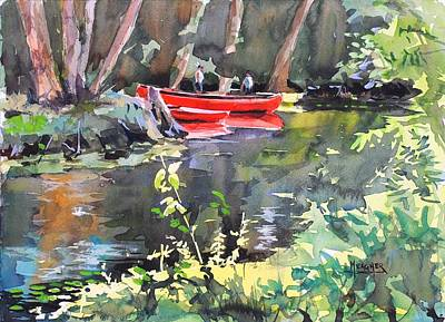River Rafting Painting - Tending The Canoes by Spencer Meagher