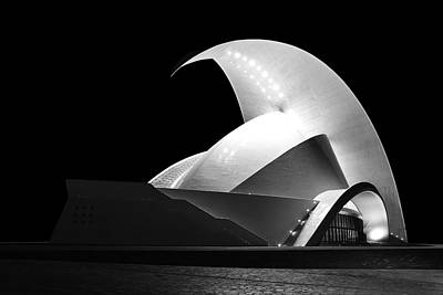 Photograph - Tenerife Auditorium Monochrome by Marek Stepan