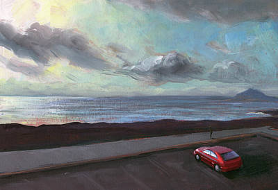 Art Print featuring the painting Tenerife Sea And Sky by Lesley Spanos