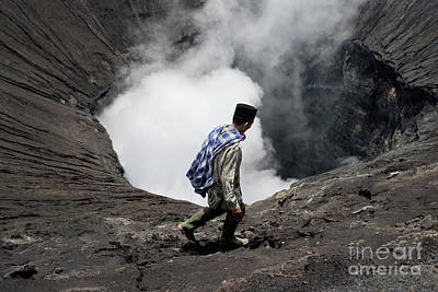 Scenery Photograph - Tenggerese Man Walking On The Edge Of An Active Volcano by Dani Prints and Images