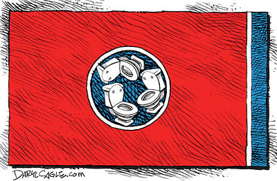 Drawing - Tennessee Bathroom Flag by Daryl Cagle