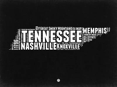 Tennessee Digital Art - Tennessee Black And White Word Cloud  Map by Naxart Studio
