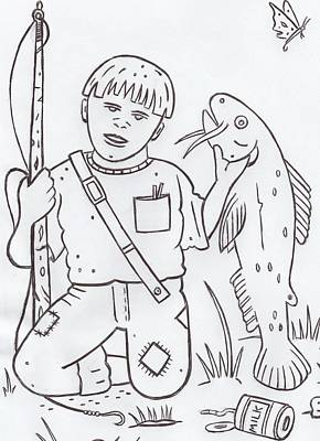 Catfish Drawing - Tennessee Boy by Lester Noss