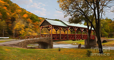 Allegheny River Painting - Tennessee Bridge In Autumn On The Cherohala Skyway Ap by Dan Carmichael