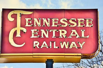 Photograph - Tennessee Central Railway Sign by Lisa Wooten