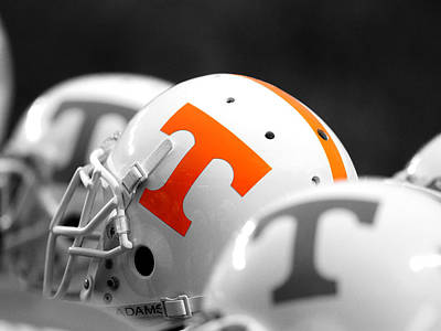 Knoxville Photograph - Tennessee Football Helmets by University of Tennessee Athletics