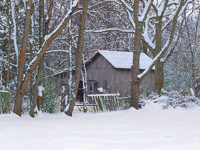 Barns In Snow Mixed Media - Tennessee Horse Barn In Winter by Garland Johnson