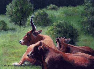 Leipers Fork Painting - Tennessee Longhorn Steers by Janet King