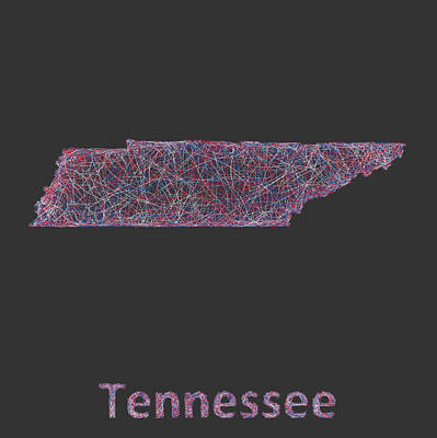 Map Of Tennessee Drawing - Tennessee Map by David Zydd