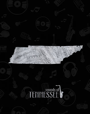 Jazz Royalty-Free and Rights-Managed Images - Tennessee Map Music Notes 2 by Bekim Art