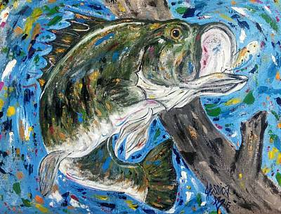 Tennessee River Painting - Tennessee River Largemouth Bass by Jessica  Barrier