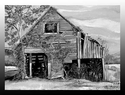 Painting - Tennessee Rustic Barn - Black And White Version by Jan Dappen