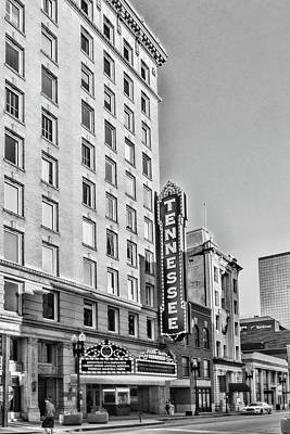 Photograph - Tennessee Theatre Marquee Building Black And White by Sharon Popek
