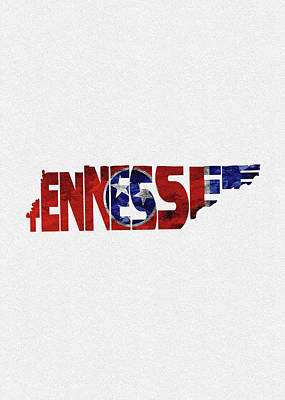 Digital Art - Tennessee Typographic Map Flag by Inspirowl Design