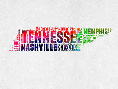 Nashville Digital Art - Tennessee Watercolor Word Cloud Map  by Naxart Studio