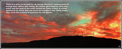 Photograph - Tenney Windfarm Sunset Poster by Wayne King