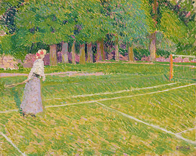 Volley Painting - Tennis At Hertingfordbury by Spencer Frederick Gore
