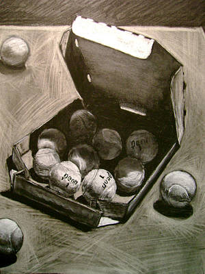 Tennis Ball Drawing - Tennis Balls In A Pizza Box Precisely by Nils Bifano