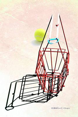 Tennis Court Basket And Ball Art Print by Kae Cheatham