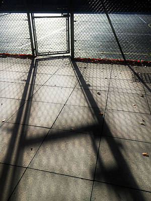 Iron Wire Photograph - Tennis Court Shadows by Tom Gowanlock