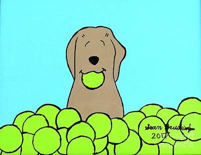 Painting - Tennis Dog by Sean Brushingham