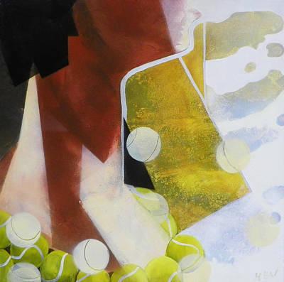 Tennis Ball Painting - Tennis Fan by Evguenia Men