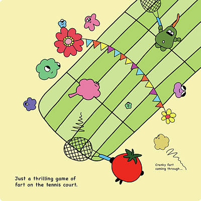Tomato Drawing - Tennis Farts by Elin Maria Parmhed