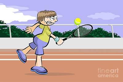 Tennis Digital Art - Tennis Game On Red Brick Court by Daniel Ghioldi