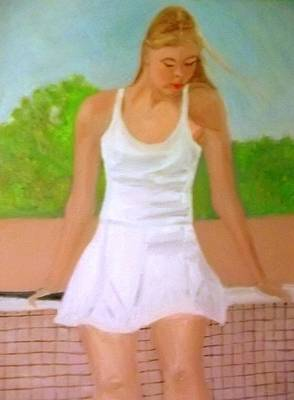 Tree With Eye Painting - Tennis Girl Leans Back On The Net by Peter Gartner