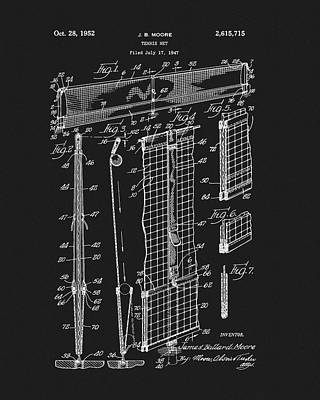 Player Drawing - Tennis Net Patent by Dan Sproul