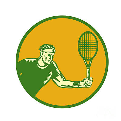 Tennis Player Forehand Circle Woodcut Art Print