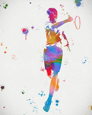 Sports Paintings - Tennis Player Paint Splatter by Dan Sproul