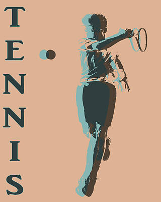 Professional Mixed Media - Tennis Player Pop Art Poster by Dan Sproul