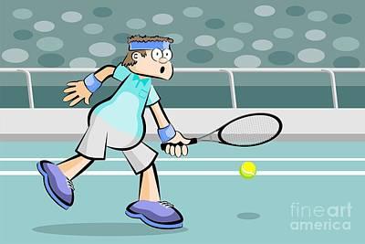 Tennis Digital Art - Tennis Player Rejecting The Ball by Daniel Ghioldi