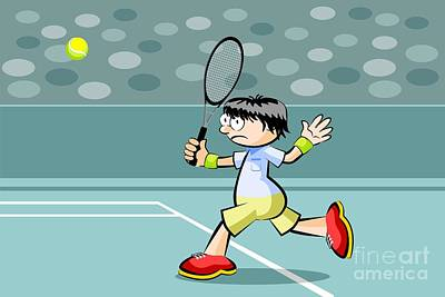 Tennis Player Runs To Reach The Ball With The Racket In His Hand Art Print