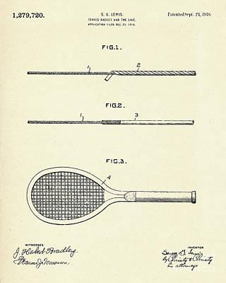 Racket Painting - Tennis Racket-1918 by Pablo Romero