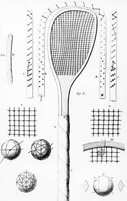 Bat Drawing - Tennis Racket And Balls by French School