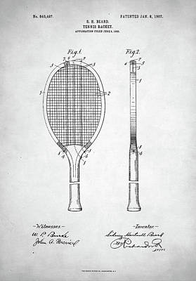 Tennis Racket Patent 1907 Art Print by Taylan Apukovska