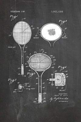 Tennis Racket Drawing - Tennis Racket Rotated 1974 by Ray Walsh