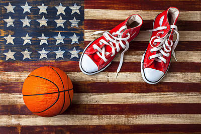 Tennis Shoes Photograph - Tennis Shoes And Basketball On Flag by Garry Gay