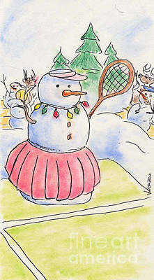 Drawing - Tennis Snowlady by Vonda Lawson-Rosa