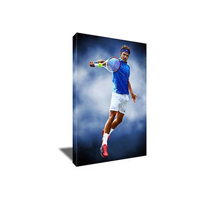 Roger Federer Mixed Media - Tennis Star Roger Federer Canvas Art by Artwrench Dotcom