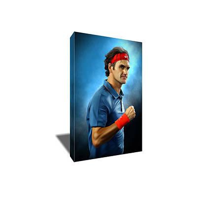 Roger Federer Mixed Media - Tennis Stud Roger Federer Canvas Art by Artwrench Dotcom