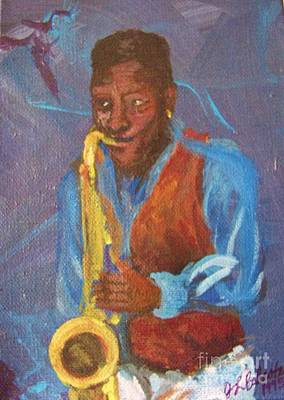 Saxophon Player Painting - Tenor Player by Jamey Balester