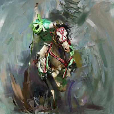 Horse Sport Painting - Tent Pegging 184 I by Mawra Tahreem