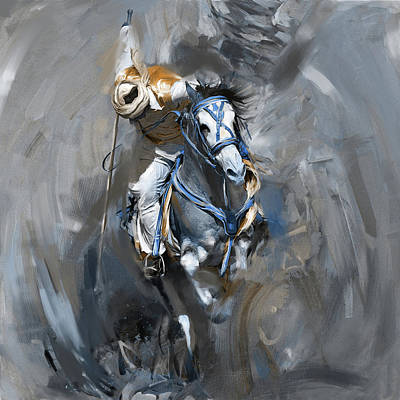 Horse Sport Painting - Tent Pegging 184 II by Mawra Tahreem