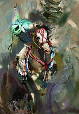 Horse Sport Painting - Tent Pegging 184 IIi by Mawra Tahreem