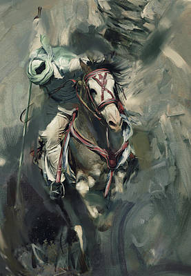 Horse Sport Painting - Tent Pegging 184 Iv by Mawra Tahreem